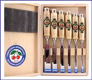 Two Cherries Set of Six Chisels In Wooden Box