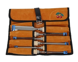 Two Cherries Set of Six Chisels in Leather Roll
