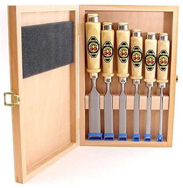 Two Cherries Chisel Set (6 Pc) In Wood Box - Unpolished Blades